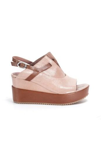 Shu Talk 粉紅色 70年代時尚大熱復古漆皮厚底鬆糕涼鞋 1EA9DSHDA0FBE1GS_1