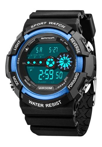 SANDA blue SANDA 320 Outdoor Sports Waterproof Multifunctional Noctilucent Digital Watch (Blue) SA708AC0RXBJMY_1