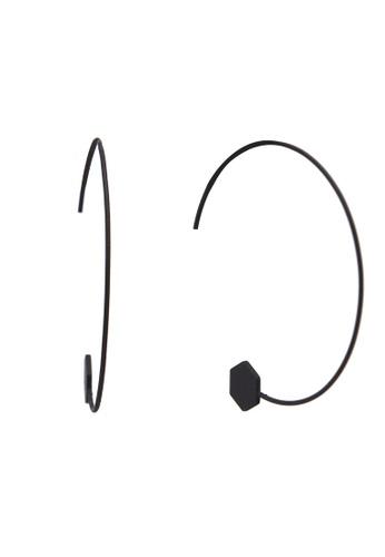 Saturation 黑色 幾何圓圈耳環 9B8EFAC294E521GS_1
