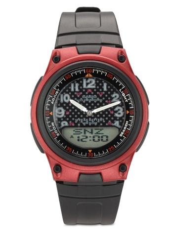 Casio red Casio Analog-Digital Combination Men's Black Resin Strap Watch AW-80-4BVDF CA843AC57MHIMY_1