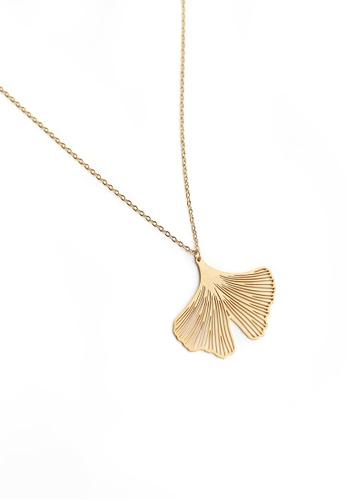 Gung Jewellery gold Clover Pendant Necklace in Matte Gold EC255AC8144493GS_1