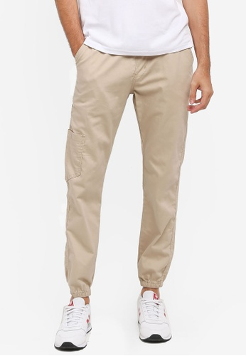 Fidelio beige Washed Cotton Casual Jogger Pants 7E166AAF2CB830GS_1