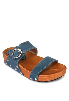 Flats Slide with Buckle Accent
