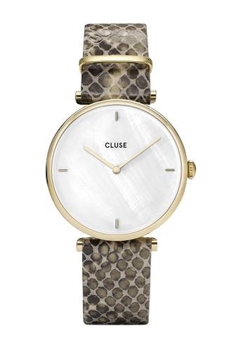 CLUSE 金色 Triomphe 金色 白色 珍珠/Soft Almond Python 手錶 4FE1DACBEE3F68GS_1