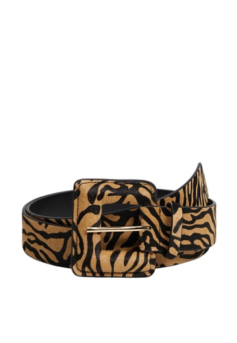 Violeta by MANGO black Animal Print Leather Belt 43527ACBBEFC9AGS_1