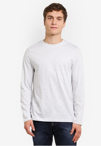 Burton Menswear London white Long Sleeve Ecru Crew T-Shirt BU964AA0RULDMY_1