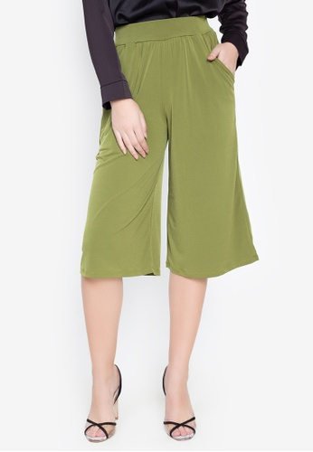 ccicci green Wide Leg Cullotes with Pockets C7E3BAAE1D3A98GS_1