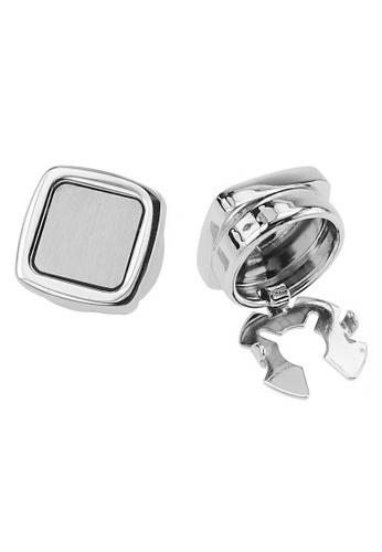 CUFF IT silver Soft Square Brush Silver Button Cover Cufflinks 2B489ACD292530GS_1