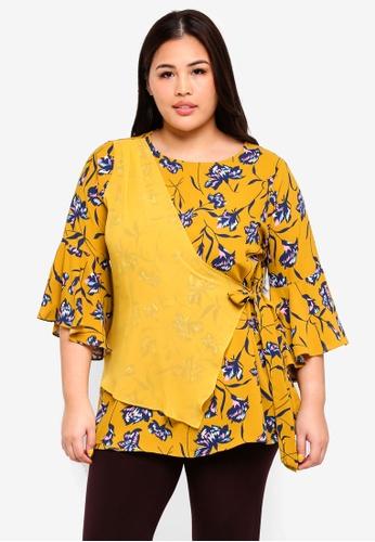 Ex'otico yellow Plus Size 3/4 Sleeve Overlap Blouse F08C4AA8459939GS_1