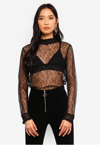 bYSI black Lace Sheer Blouse 71F61AAB77867EGS_1