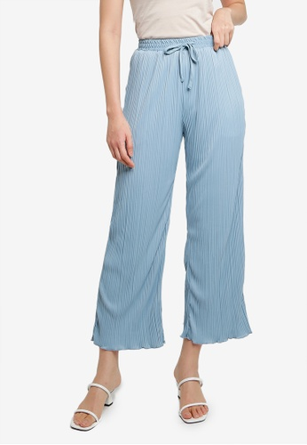 Heather blue Pleated Detail Pants A8859AACCDF317GS_1