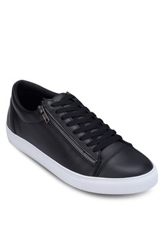 Zipper Faux Leather Sneaker