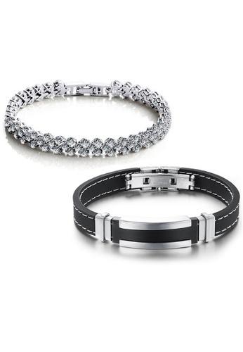YOUNIQ silver YOUNIQ Dazzling Platinum Plated Silver Bracelet & Silicone Stitch with Silver Steel Line Bracelet (Couple Set) YO999AC01DACMY_1