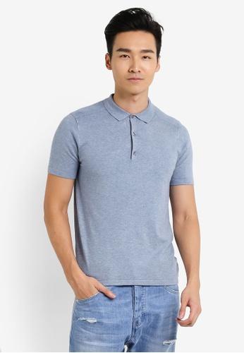 Burton Menswear London blue Blue Textured Knitted Polo Shirt BU964AA36JTNMY_1