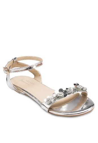 esprit暢貨中心Occasion 金屬感花飾一字帶平底涼鞋, 女鞋, 涼鞋
