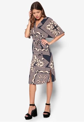 印花繫帶裹式連身裙, 服飾,zalora 包包評價 服飾