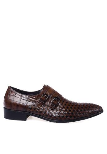 Twenty Eight Shoes 褐色 編織鱷魚紋牛皮雙扣孟克鞋 VMF2001 70DFCSH4ABCA11GS_1