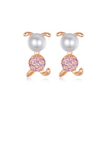 Glamorousky 白色 925純銀鍍玫瑰金簡約可愛兔子白色淡水珍珠耳釘配粉色鋯石 EA56BAC95D08F1GS_1
