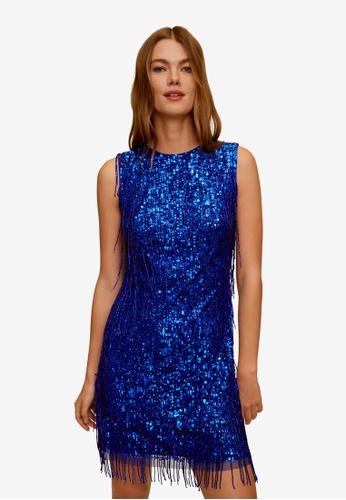 Mango blue Short Sequin Dress 43341AA4A950D8GS_1