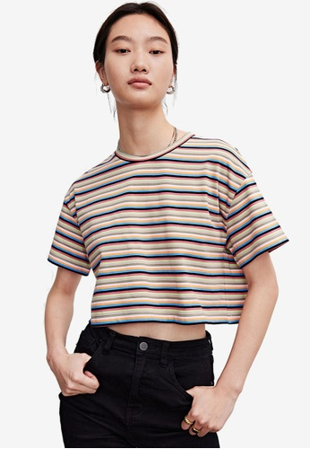 Urban Revivo purple Drop-Shoulder Sleeve Cotton T-Shirt 5075BAAB99A923GS_1
