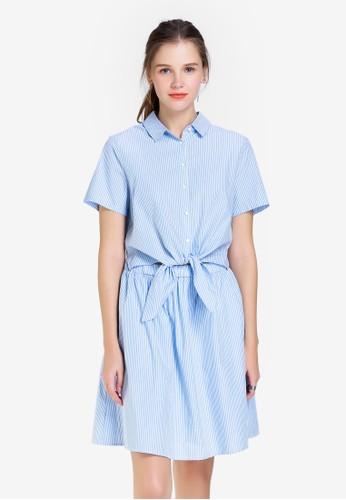 Hopeshow blue Short Sleeve Dress with Tie Knot EDA92AA0552E22GS_1
