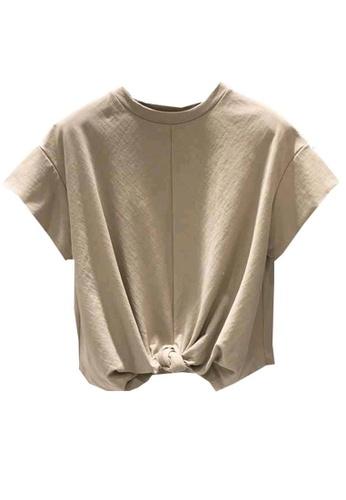 Sunnydaysweety beige Korean Style Tied-Hem T-shirt Top A21032015KI 31A99AA555667AGS_1