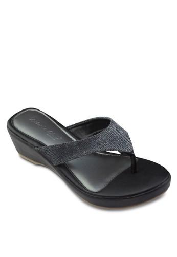 閃飾楔形夾zalora 內衣腳涼鞋, 女鞋, 楔形涼鞋