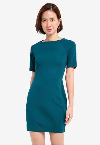 ZALORA BASICS green Short Sleeve Bodycon Dress FE21CAADE9C8A2GS_1