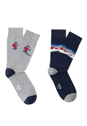 MANGO Man blue 2 Pack Printed Socks 9F021AA5C014F3GS_1