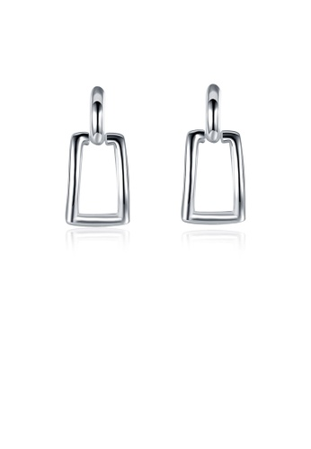 Glamorousky silver Simple Geometric Cutout Square Earrings B5FF7ACCCD56C3GS_1