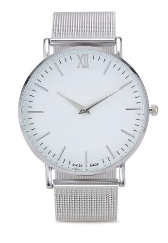 NUVEAU silver Round Face Silver White Mesh Strap Watch 5E6B3ACCD8940EGS_1