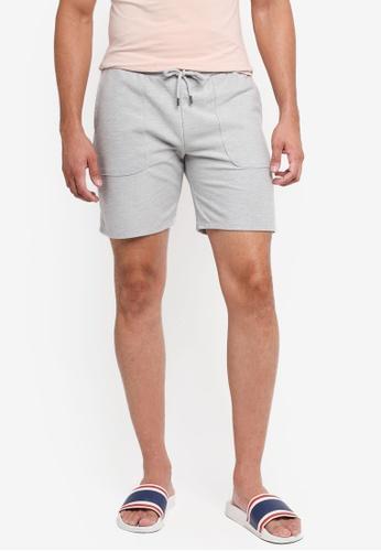 Topman grey Grey Twill Jersey Shorts 72A84AAE095663GS_1