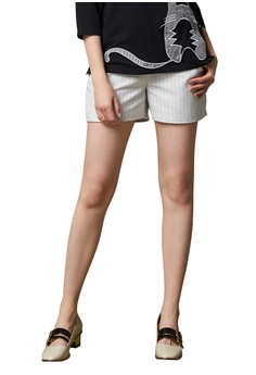 【ZALORA】 OUWEY歐薇 簡約條紋百搭短褲