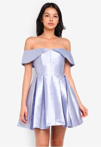 Miss Selfridge blue Petite Bardot Prom Dress 721CAAADE94FDBGS_1