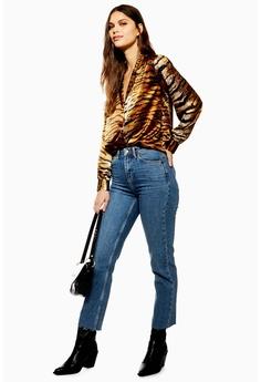 ec0716f0 TOPSHOP blue Mid Blue Raw Hem Straight Jeans 0A566AA099325EGS_1