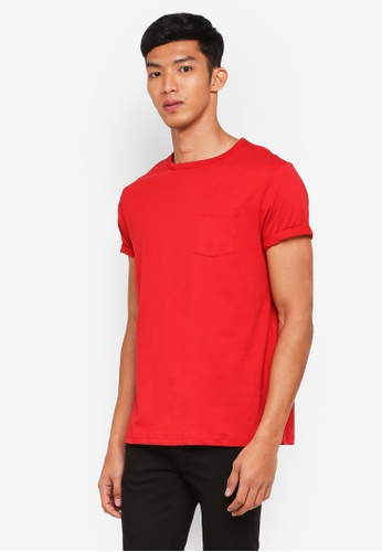 River Island 紅色 Red Crew Neck Chest Pocket T-Shirt B6464AABF438FCGS_1