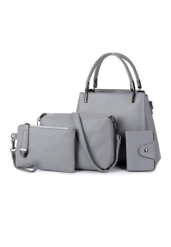 Lara green Women's Leather Zipper Handbag Cross-body Bag (4-piece Set) - Grey A52ACAC8731D04GS_1