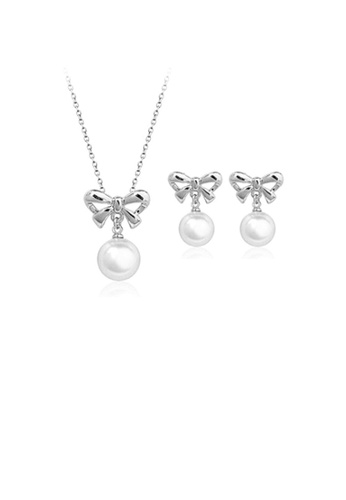 Glamorousky white Stylish Mother's Day Bow Fashion Pearl Necklace and Earrings 96AECAC8144658GS_1
