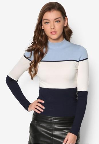 色塊高領esprit 尖沙咀長袖衫, 服飾, 外套