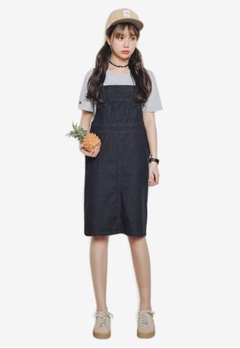 丹寧及膝吊帶裙,zalora 鞋評價 服飾, 洋裝