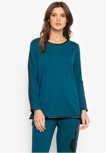 N Natori blue Solid Double Knit Top A070DAA3AFB527GS_1
