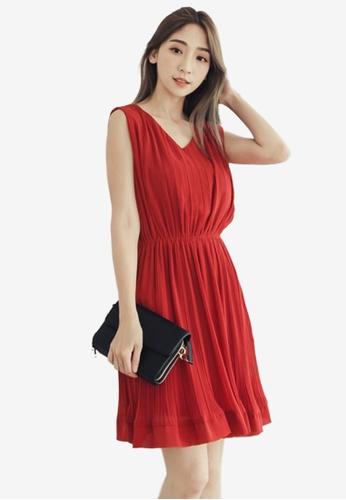 Eyescream red Pleated Dress C1FDFAA460B092GS_1