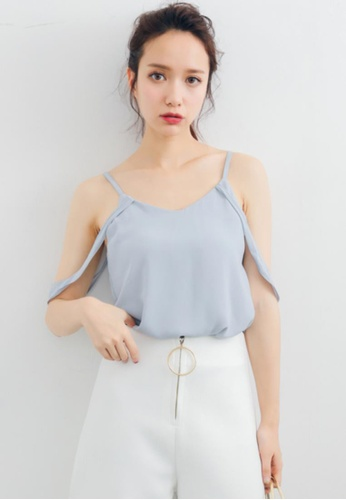 Shopsfashion grey Liana Cold Shoulder Blouse in Grey 68093AABC54AFDGS_1