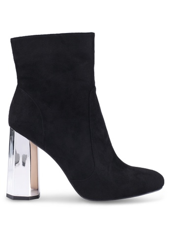 Public Desire black and silver Steel Mirror Heel Ankle Boots 19102SH07801B0GS_1