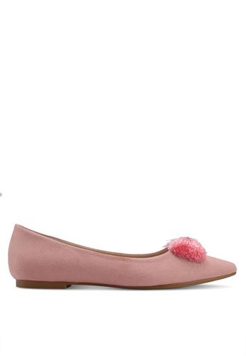 Velvet pink Bow Detail Ballerinas B2848SHB068530GS_1