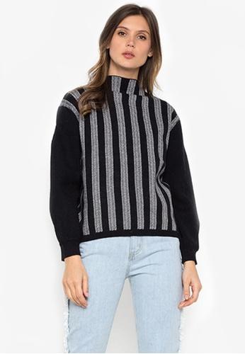 NOBASIC black Striped High Neck Sweater FE0BFAAE43C0CEGS_1