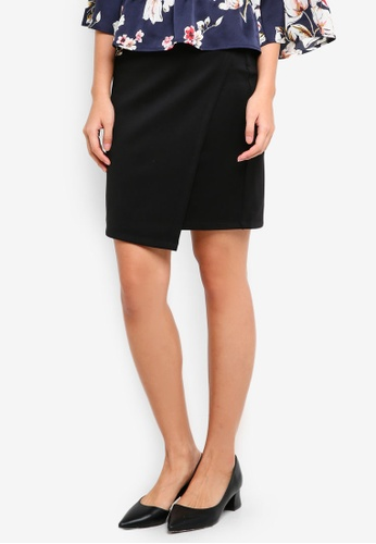 ZALORA BASICS black Asymmetic Bodycon Skirt 9199BAA1DD16F7GS_1
