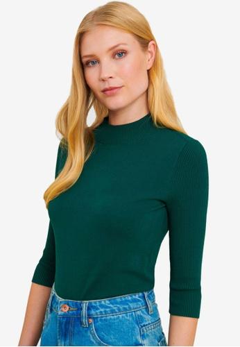 FORCAST green Angeline Mock Neck Knit Top 526EDAAB89C4D4GS_1