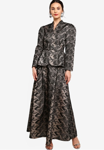 Zalia black and beige Belted Textured Jacket With Flare Skirt B69ADAAB5C61CBGS_1