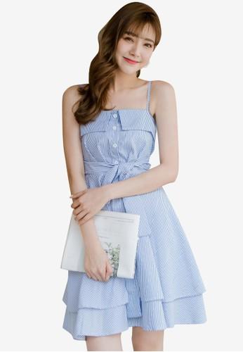 Tokichoi blue Striped Tie Cami Dress 6F838AAC1A9188GS_1